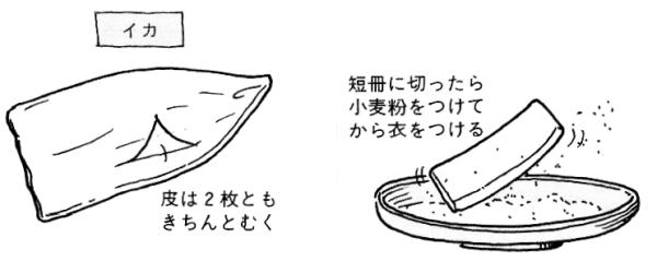 イカの天ぷら油のはねを防ぐ下ごしらえ